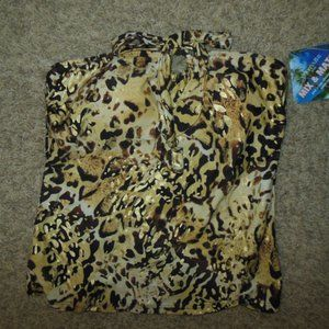 St Johns Bay 10 Leopard Tankini Top Pad Bra